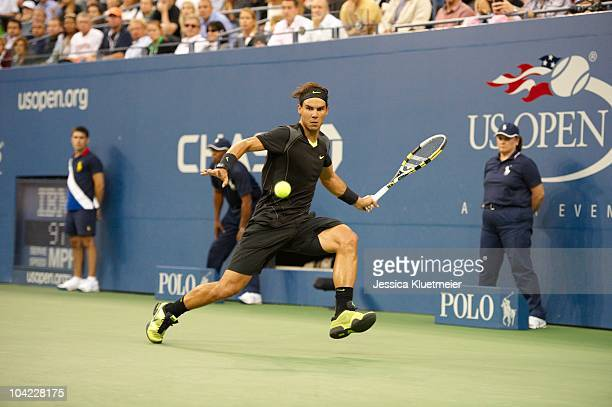 US Open Spain Rafael Nadal in action vs Serbia Novak Djokovic during Men's Final at BJK National Tennis Center Flushing neighborhood of the Queens...