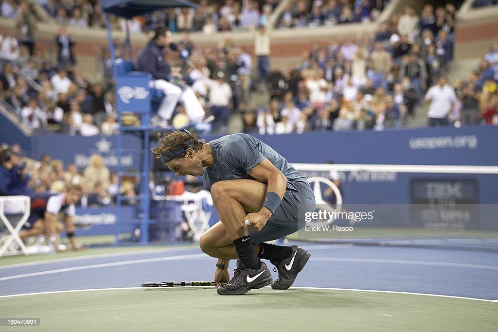 Spain Rafael Nadal victorious during match vs Serbia Novak Djokovic during Men's Final at BJK National Tennis Center. Erick W. Rasco F203 )
