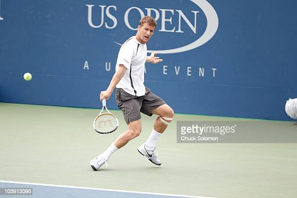 Switzerland Marco Chiudinelli in action vs USA John Isner during Men's 2nd Round at BJK National Tennis Center. Flushing, NY 9/3/2010 CREDIT: Chuck...
