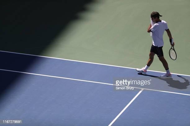US Open Switzerland Roger Federer during Men's 3rd Round match vs Great Britain Dan Evans at BJK National Tennis Center Flushing NY CREDIT Simon Bruty