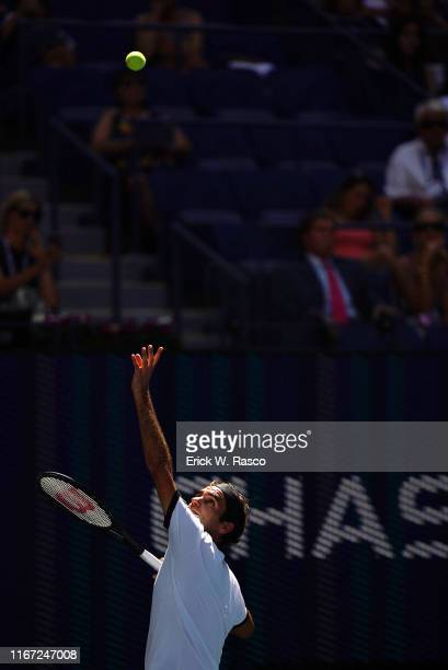 US Open Switzerland Roger Federer in action serve vs Great Britain Daniel Evans during Men's 3rd Round match at BJK National Tennis Center Flushing...