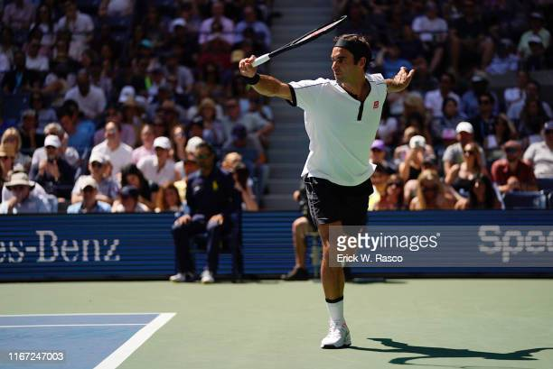 US Open Switzerland Roger Federer in action vs Great Britain Daniel Evans during Men's 3rd Round match at BJK National Tennis Center Flushing NY...