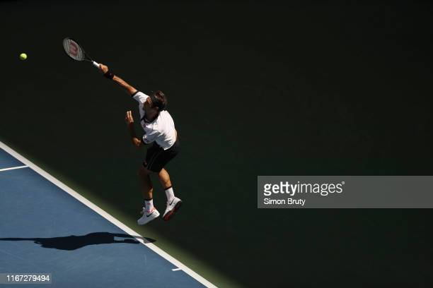 US Open Switzerland Roger Federer in action vs Great Britain Dan Evans during Men's 3rd Round match at BJK National Tennis Center Flushing NY CREDIT...
