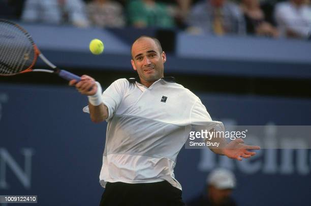 US Open USA Andre Agassi in action alone during Men's Finals at USTA National Tennis Center Flushing NY CREDIT Simon Bruty