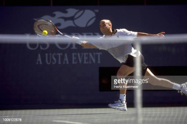 US Open USA Andre Agassi in action during Men's Final at USTA National Tennis Center Flushing NY CREDIT Heinz Kluetmeier