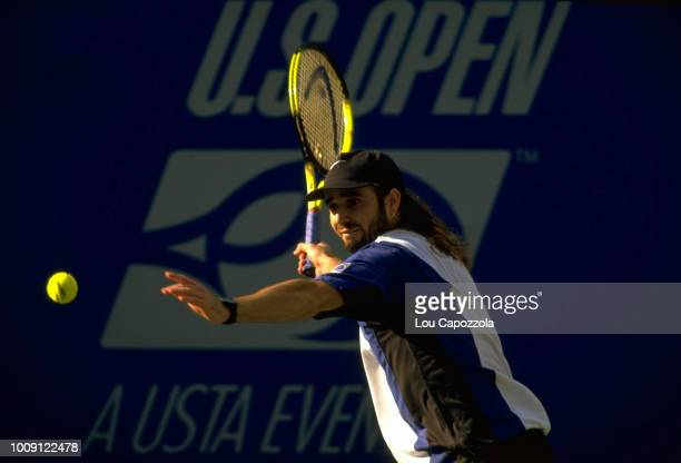 US Open USA Andre Agassi in action during Men's Finals at USTA National Tennis Center Flushing NY CREDIT Lou Capozzola