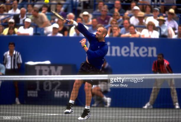 US Open USA Andre Agassi in action during Men's Quarterfinals at USTA National Tennis Center Flushing NY CREDIT Simon Bruty