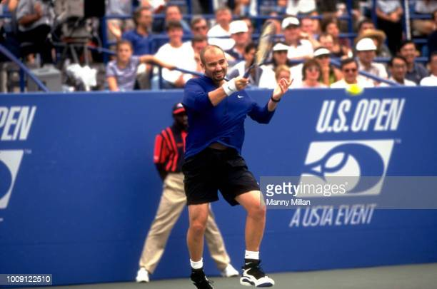 US Open USA Andre Agassi in action during Men's Semifinals at USTA National Tennis Center Flushing NY CREDIT Manny Millan