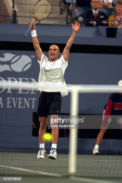 US Open USA Andre Agassi victorious after winning Men's Final at USTA National Tennis Center Flushing NY CREDIT Heinz Kluetmeier