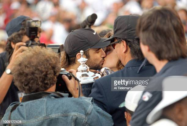 US Open USA Andre Agassi victorious kissing his girlfriend Brooke Shields after winning Men's Final at USTA National Tennis Center Flushing NY CREDIT...