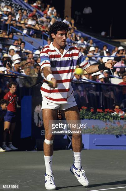 Brad Gilbert in action during match at National Tennis Center. Flushing, NY 9/1/1987--9/12/1987 CREDIT: Jacqueline Duvoisin