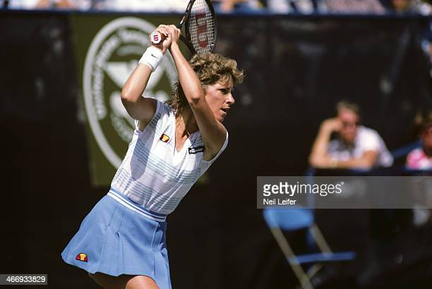 US Open USA Chris Evert Lloyd in action during match at USTA National Tennis Center Flushing NY CREDIT Neil Leifer