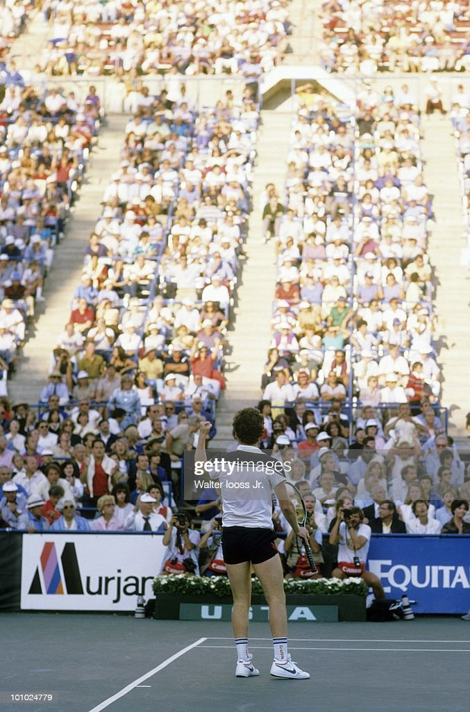 USA John McEnroe victorious after winning Men's Finals vs Czechoslovakia Ivan Lendl at National Tennis Center. Flushing, NY 9/9/1984