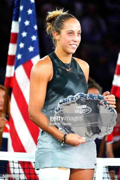 US Open USA Madison Keys holding finalist trophy after Women's Final match vs USA Sloane Stephens at BJK National Tennis Center Flushing NY CREDIT...