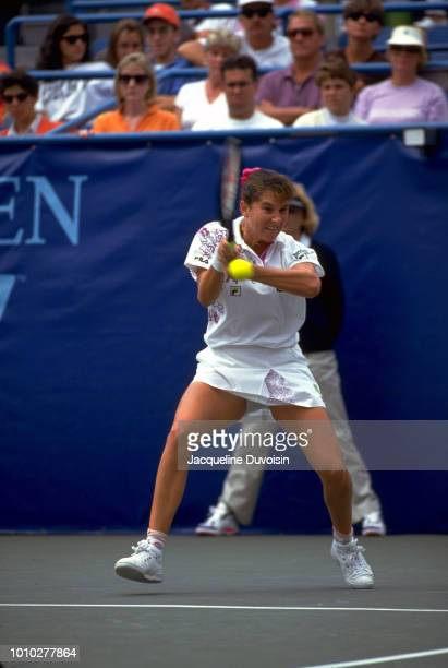Monica Seles in action during Women's Finals at USTA National Tennis Center. Flushing, NY 9/12/1992 CREDIT: Jacqueline Duvoisin