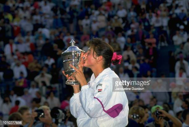 Monica Seles victorious kissing US Open trophy after winning Women's Finals at USTA National Tennis Center. Flushing, NY 9/12/1992 CREDIT: Jacqueline...