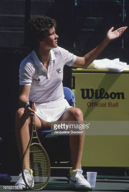 US Open USA Pam Shriver sitting down looking upset during Women's Quarterfinals at USTA National Tennis Center Flushing NY CREDIT Jacqueline Duvoisin