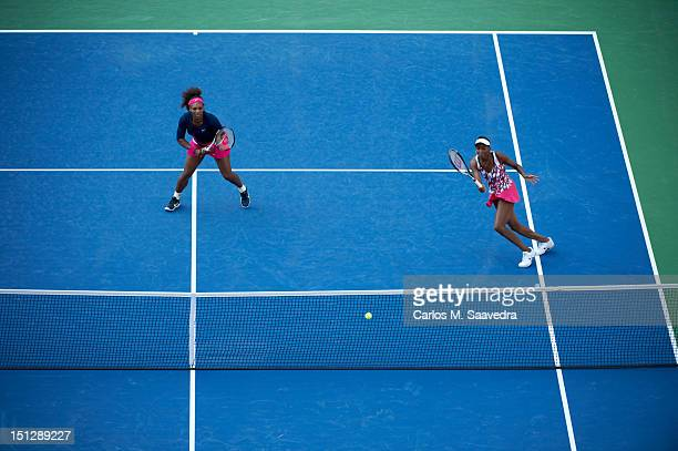 US Open USA Serena Williams and Venus Williams in action vs Poland Klaudia JansIgnacik and France Kristina Mladenovic during Women's Doubles 2nd...