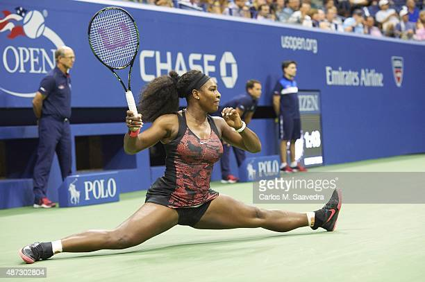 US Open USA Serena Williams in action and doing split during Women's 3rd Round match vs USA Bethanie MattekSands at BJK National Tennis Center...