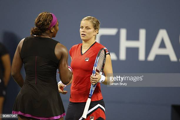 US Open USA Serena Williams shaking hands with Belgium Kim Clijsters while leaving court after getting disqualified for unsportsmanlike conduct...