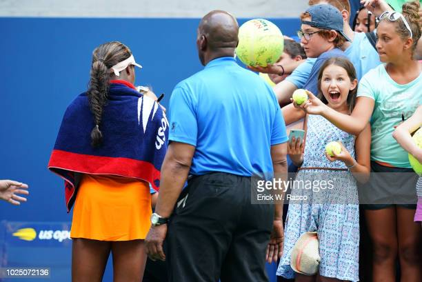 US Open USA Sloane Stephens signing autographs for fans after Women's 1st Round match vs Russia Evgeniya Rodina at BJK National Tennis Center...