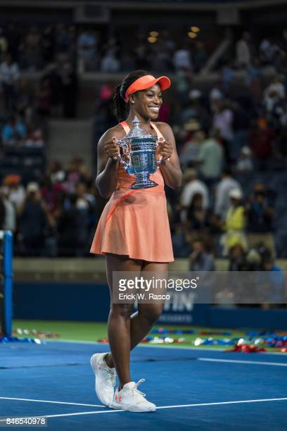 US Open USA Sloane Stephens victorious holding up US Open trophy after winning Women's Final match vs USA Madison Keys at BJK National Tennis Center...