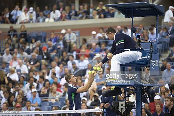 US Open View of ball boys handing tennis balls to chair umpire during Men's Final between Croatia Marin Cilic and Japan Kei Nishikori at BJK National...