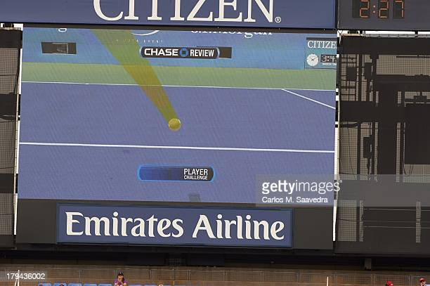 US Open View of graphic from player challenge on scoreboard during Men's 4th Round between Great Britain Andy Murray and Germany Florian Mayer at BJK...