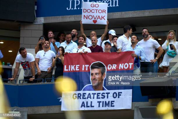View of signs that reads GO DOCTOR NOVAK and LIKE IT OR NOT GREATEST OF ALL TIME before Men's Final between Serbia Novak Djokovic and Russia Daniil...