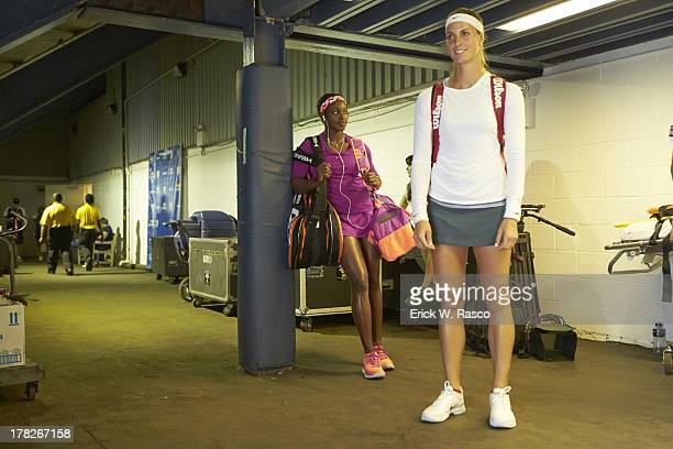 View of USA Sloane Stephens and Luxembourg Mandy Minella in tunnel at Louis Armstrong Stadium before Women's First Round match at BJK National Tennis...