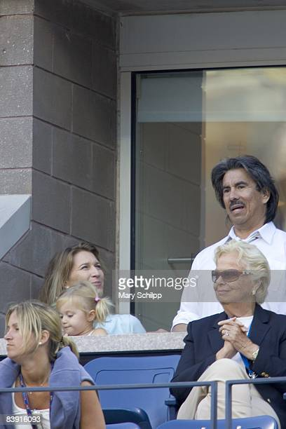 Tennis US Open View of wife Steffi Graf and daughter Jaz Elle of USA Andre Agassi in stands during match at National Tennis Center Flushing NY...