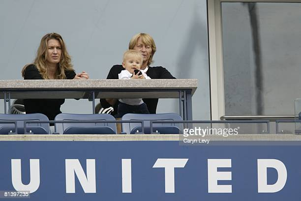 Tennis US Open View of wife Steffi Graf and son Jaden of USA Andre Agassi in stands during Finals match vs USA Pete Sampras at National Tennis Center...