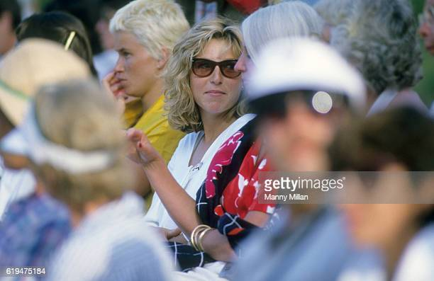 USA John McEnroe's wife Tatum O'Neal in stands with mother in law Kay McEnroe during his first match back vs Yugoslavia Marko Ostoja at Stratton...