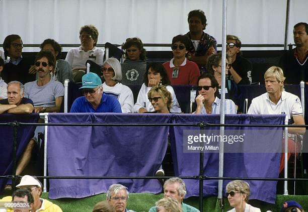 Volvo International Tatum O'Neal wife of John McEnroe watching match with her inlaws Kay McEnroe John McEnroe Sr and Patrick McEnroe at Stratton...