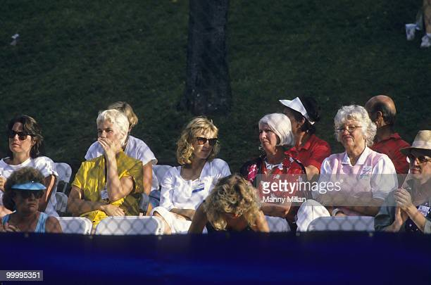 Volvo International Tatum O'Neal wife of John McEnroe watching match with her motherinlaw Kay McEnroe at Stratton Mountain Resort McEnroe's return to...