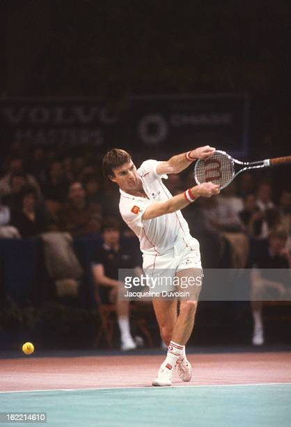 Volvo Masters: USA Jimmy Connors during Semifinals match vs Czechoslovakia Ivan Lendl at Madison Square Garden. Volvo Grand Prix. New York, NY...