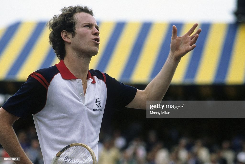 Closeup of USA John McEnroe upset, arguing with umpire during match at West Side Tennis Club. Forest Hills, NY 5/6/1982