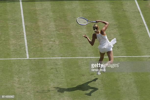 Tennis Wimbledon Aerial view of RUS Maria Sharapova in action during quarterfinals match vs RUS Nadia Petrova at All England Club London GBR 6/28/2005