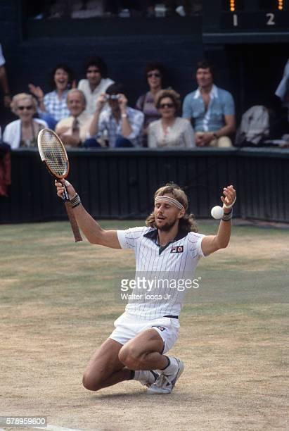 Wimbledon Bjorn Borg victorious after winning Men's Finals match vs Roscoe Tanner at All England Club London England 7/1/1979 CREDIT Walter Iooss Jr