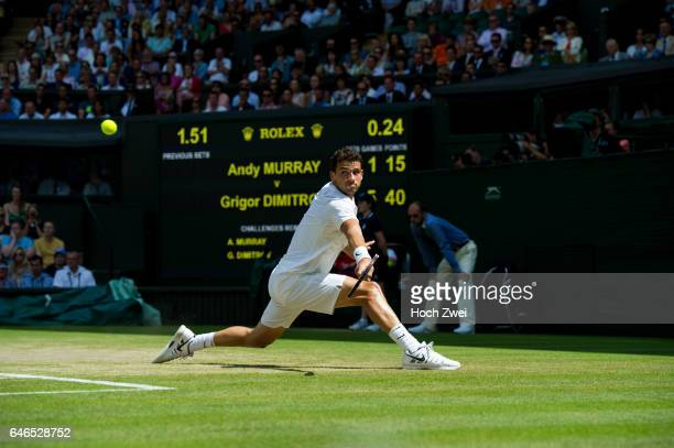 Wimbledon Championship 2014 Grigor Dimitrov of Bulgariaon during his Gentlemen's Singles quarterfinal match against Andy Murray of Great Britain on...