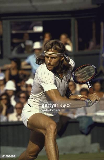 Tennis Wimbledon Closeup of Bjorn Borg in action vs John McEnroe during final match at All England Club London GBR 6/29/1980
