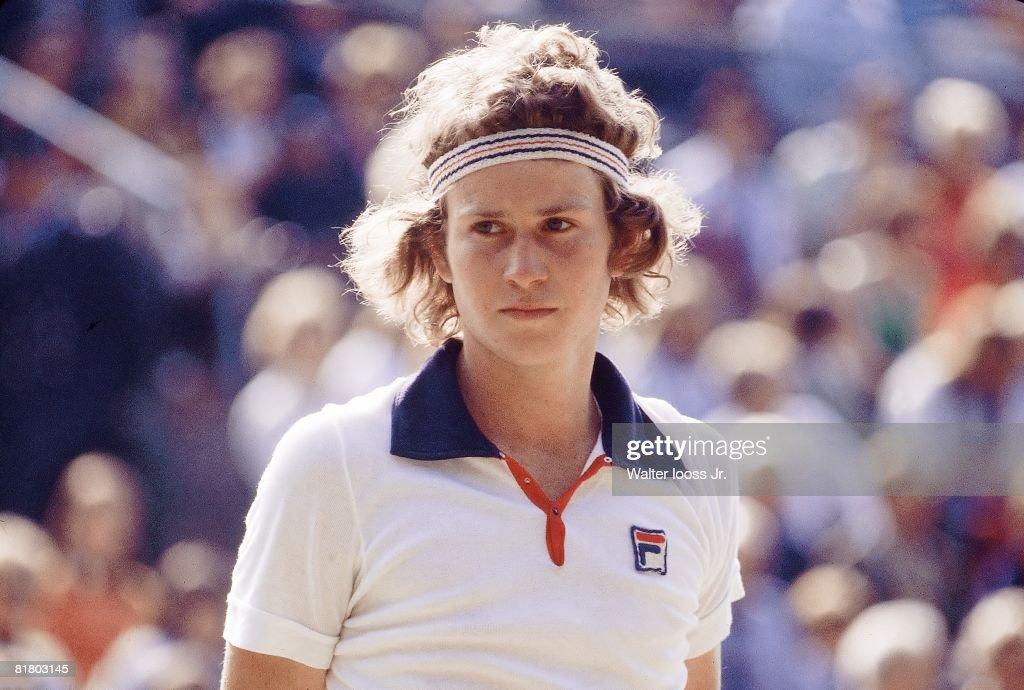 Wimbledon, Closeup of John McEnroe at All England Club, London, GBR 6/30/1977