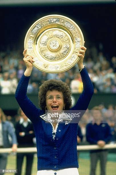 Tennis Wimbledon Closeup of USA Billy Jean King victorious with Rosewater Dish trophy after winning finals match vs Australia Evonne Goolagong Cawley...