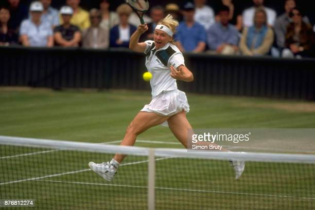 Wimbledon Czech Republic Jana Novotna in action vs France Nathalie Tauziat during Women's Final match at All England Club London England 7/5/1998...