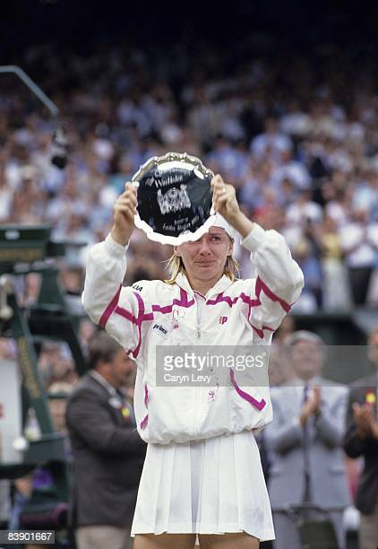 Czech Republic Jana Novotna with runner-up trophy after Finals match vs Germany Steffi Graf at All England Club. London, England 7/3/1993 CREDIT:...