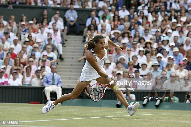 Tennis Wimbledon France Amelie Mauresmo in action vs Belgium Justine HeninHardenne during Finals at All England Club London England 7/8/2006