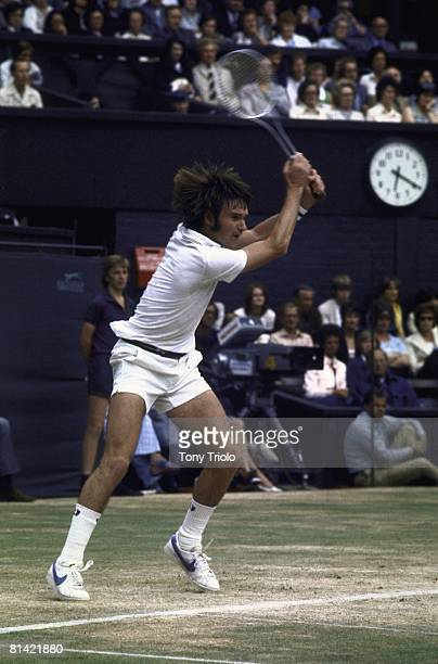 Tennis Wimbledon Jimmy Connors in action during match vs Arthur Ashe at All England Club London GBR 7/7/1975