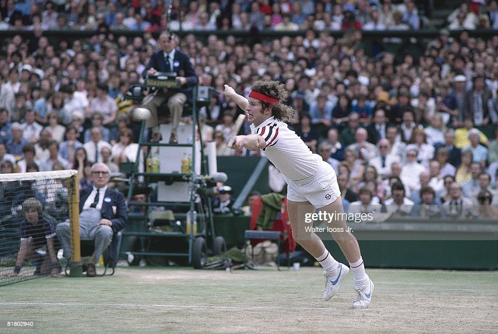 Wimbledon, John McEnroe in action during finals match vs Bjorn Borg at All England Club, London, GBR 6/29/1980