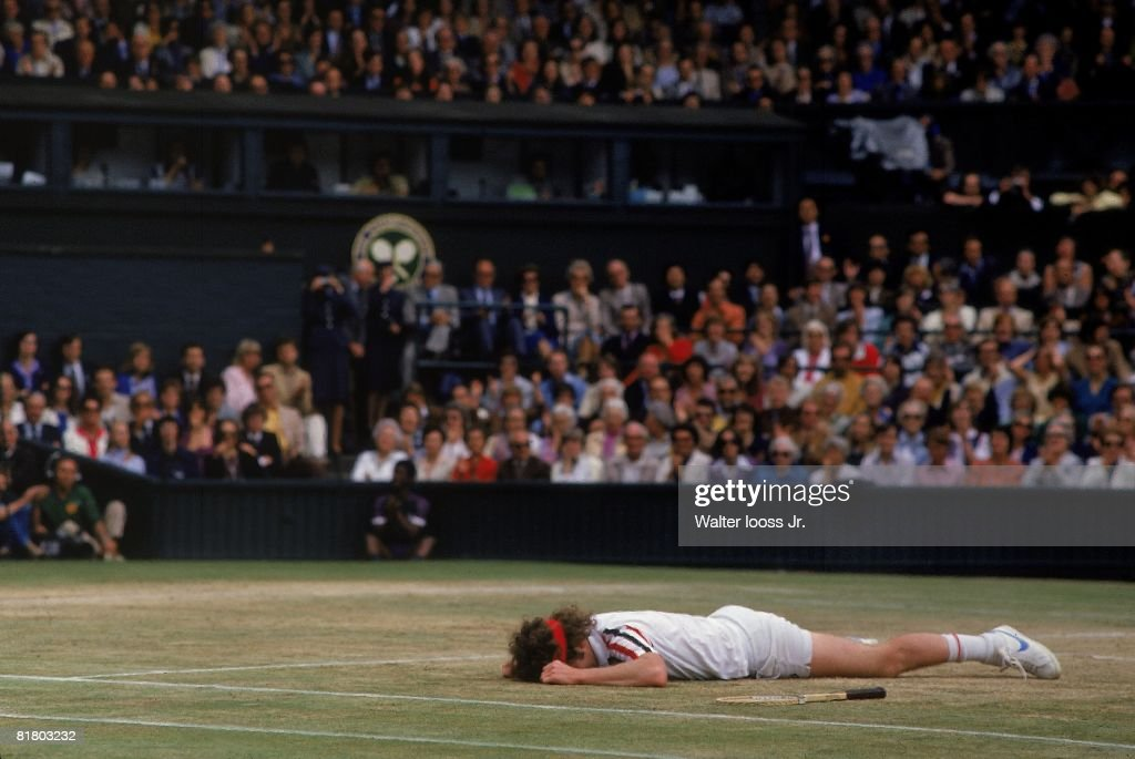 Wimbledon, John McEnroe upset after losing finals match vs Bjorn Borg at All England Club, London, GBR 6/29/1980