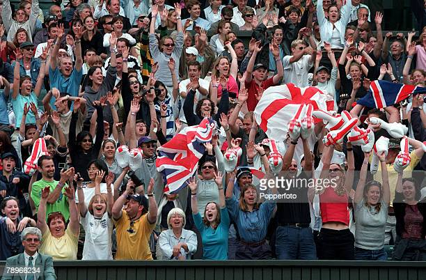 Tennis, Wimbledon Lawn Tennis Championships, Men+s Singles, 3rd Round, 1st July 2000, The colourful Centre-Court crowd show their support for Great...